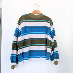 Vtg 70s Surfer Terry cloth Stripe Sweatshirt Top M